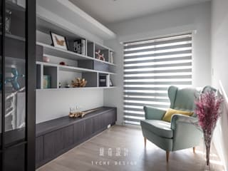 緹奇設計 Ruang Studi/Kantor Modern Kayu Grey
