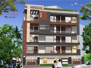 Exterior/ Elevation for a (Ground+3) Residence Floor. Stilt Paring. Materials used HPL, Wooden Look Tile, Granite, SS & HPL Door, Outdoor Light & Grey Exterior Texture by Asri Interiors Modern
