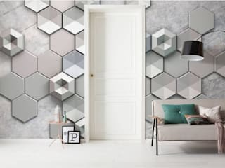 Papel de parede com hexágonos wallpaper with hexagons FOTOMURAL 6004A-VD4 por Intense mobiliário e interiores Moderno