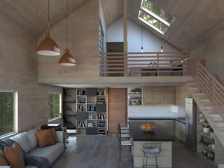 Casa Galpón HI-I Salas multimedia de estilo moderno de Soc. Constructora Cavent Spa Moderno