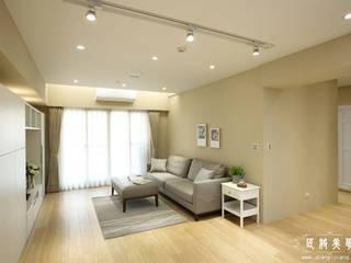 極簡美式居家:  客廳 by 匠將室內裝修設計股份有限公司, 鄉村風