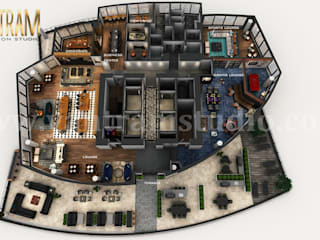Professional 3D Virtual Floor Plan of Apartment's Rooftop Design with Terrace ideas by architectural design studio Yantram Architectural Design Studio Modern