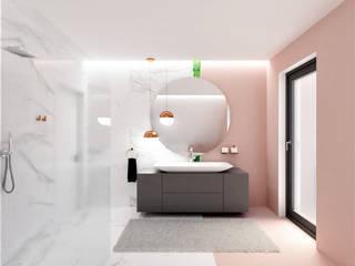 Łazienka na poddaszu Wkwadrat Architekt Wnętrz Toruń Minimalistyczna łazienka Marmur Różowy