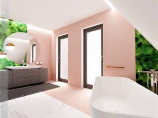 Łazienka na poddaszu Wkwadrat Architekt Wnętrz Toruń Nowoczesna łazienka Płytki Biały