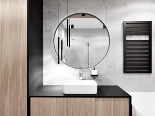 Łazienka w bloku dla mężczyzny Wkwadrat Architekt Wnętrz Toruń Nowoczesna łazienka Płyta MDF Czarny