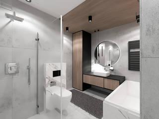 Łazienka w bloku dla mężczyzny Wkwadrat Architekt Wnętrz Toruń Minimalistyczna łazienka Beton Szary