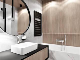 Łazienka w bloku dla mężczyzny Wkwadrat Architekt Wnętrz Toruń Nowoczesna łazienka Marmur O efekcie drewna