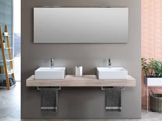Mobile bagno sospeso 165cm Yoka TFT top tabacco chiaro con lavabo da appoggio e specchio di Hevia Srl Moderno