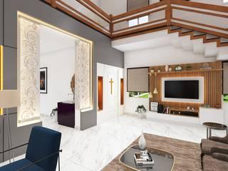 DUPLEX HOME INTERIOR DESIGN:  Living room by WILSON DOT INTERIORS,Modern