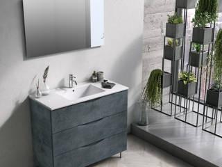 Mobile bagno a terra 100 cm Malmo TFT Blu con lavabo da incasso e specchio di Hevia Srl Moderno