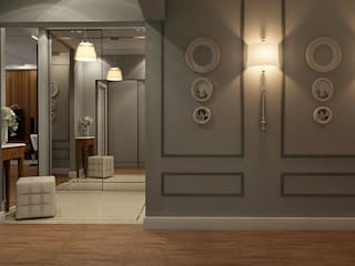 Classic style corridor, hallway and stairs by STUDIO DESIGN КРАСНЫЙ НОСОРОГ Classic