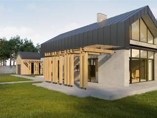 Pasywny dom jednorodzinny typu stodoła do 120m2 Minimalistyczny balkon, taras i weranda od Budownictwo i Architektura Marcin Sieradzki - BIAMS Minimalistyczny