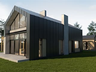 Pasywny dom jednorodzinny typu stodoła do 120m2 od Budownictwo i Architektura Marcin Sieradzki - BIAMS Skandynawski