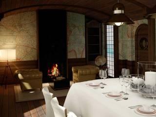 Diseño de interior temático para comedor de restaurante Gastronomía de estilo clásico de Tono Lledó Estudio de Interiorismo en Alicante Clásico