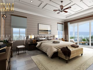 Contemporary Master Bedroom with Species Balcony 3d interior rendering services by architectural rendering company Yantram Architectural Design Studio Modern