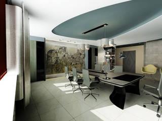 Industrial style study/office by STUDIO DESIGN КРАСНЫЙ НОСОРОГ Industrial