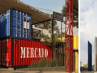 Boutique de Arquitectura ¨Querétaro [Sonotectura+Refaccionaria] Pasillos, vestíbulos y escaleras industriales Hormigón Rojo