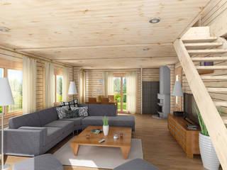 Salones rústicos rústicos de THULE Blockhaus GmbH - Ihr Fertigbausatz für ein Holzhaus Rústico