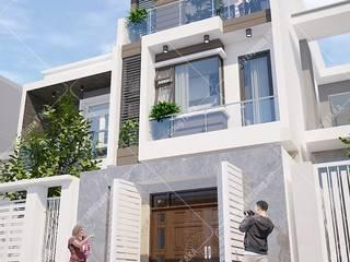 Mẫu thiết kế nhà phố 1 trệt 1 lầu sân thượng 5×17 hiện đại [Chị Hiền Bình Dương] by Công ty Thiết kế Xây dựng Taka
