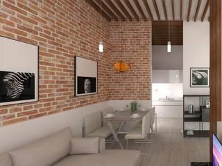 RÖ | ARQUITECTOS Minimalist living room Bricks