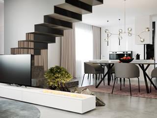 дизайн студия А Гординского Minimalistische Wohnzimmer Holz-Kunststoff-Verbund Mehrfarbig