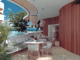 Restaurante Hotel Romeo Tulum de BÖHEM STUDIO Tropical Madera Acabado en madera
