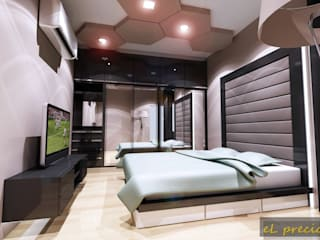 PROPOSED INTERIOR DESIGN FOR BANJARIA COURT APARTMENT AT BATU CAVES, SELANGOR Tropical style bedroom by eL precio Tropical