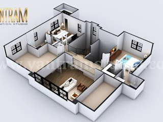 4-bedroom Simple Modern Residential 3D Floor Plan House Design by Architectural Rendering Company, Liverpool Yantram Architectural Design Studio Modern
