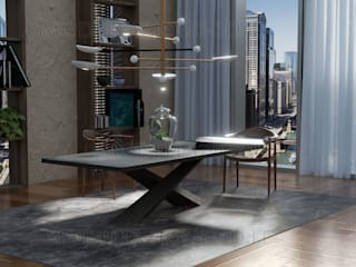 Design di interno appartamento con giardino in vaso al centro del tavolo Sala da pranzo moderna di Alessandro Chessa Moderno