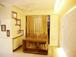 Storage and display unit with space saving study table Modern living room by Neha Dharkar Modern