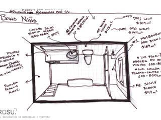 """Baño para habitación """"C"""" de ARQSU, Arquitectura e Interiorismo Moderno"""