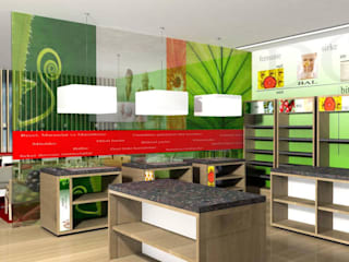SERPİCİ's Mimarlık ve İç Mimarlık Architecture and INTERIOR DESIGN Negozi & Locali commerciali moderni Bambù Verde