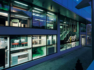 SERPİCİ's Mimarlık ve İç Mimarlık Architecture and INTERIOR DESIGN Kantor & Toko Modern Aluminium/Seng Blue