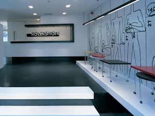 SERPİCİ's Mimarlık ve İç Mimarlık Architecture and INTERIOR DESIGN Negozi & Locali commerciali moderni Cemento Bianco