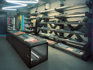 SERPİCİ's Mimarlık ve İç Mimarlık Architecture and INTERIOR DESIGN Negozi & Locali commerciali moderni Alluminio / Zinco Marrone