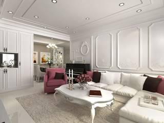 純淨潔白 新古典饗宴:  客廳 by 大棠室內裝修工程有限公司, 古典風
