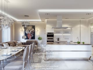Salas / recibidores de estilo  por Дизайн-студия элитных интерьеров Анжелики Прудниковой, Moderno