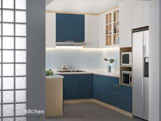 Swish Design Works Cucina moderna Compensato Turchese
