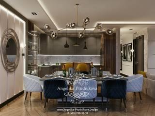 غرفة المعيشة تنفيذ Дизайн-студия элитных интерьеров Анжелики Прудниковой , إسكندينافي