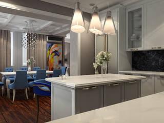 НЕОКЛАССИКА(кухня-столовая): Столовые комнаты в . Автор – STUDIO DESIGN КРАСНЫЙ НОСОРОГ, Классический