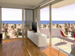 Phòng khách phong cách tối giản bởi Barreres del Mundo Architects. Arquitectos e interioristas en Valencia. Tối giản