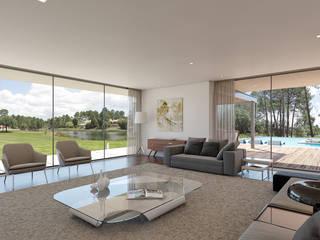 CASA RD1 - Moradia na Quinta do Peru – Projeto de Arquitetura Salas de estar modernas por Traçado Regulador. Lda Moderno Madeira Efeito de madeira