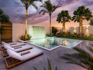 庭院泳池 by Alexsandra Canan Arquitetura e Interiores, 現代風