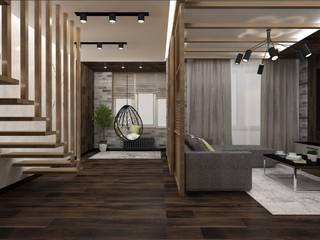 Двухуровневая квартира в Крюковщине Гостиная в стиле лофт от Торохтий Елена Лофт