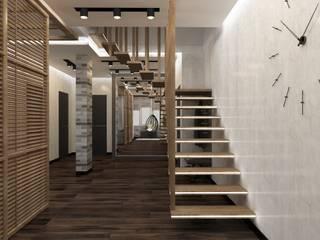 Двухуровневая квартира в Крюковщине Коридор, прихожая и лестница в стиле лофт от Торохтий Елена Лофт