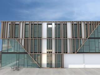 EDIFICIO DE OFICINAS INARQ Espacio Edificios de oficinas de estilo moderno Madera Marrón