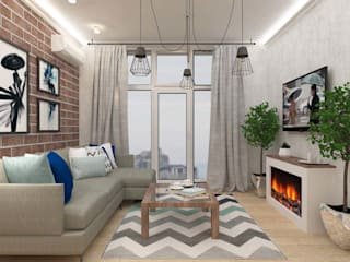 Дизайн квартиры в Киеве Гостиная в скандинавском стиле от Торохтий Елена Скандинавский