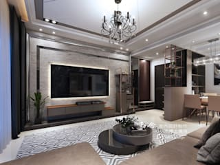 仁山洺悅 现代客厅設計點子、靈感 & 圖片 根據 木博士團隊/動念室內設計制作 現代風