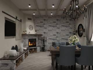 кухня гостиная в загородном доме Гостиные в эклектичном стиле от Евгения Ковалева Эклектичный