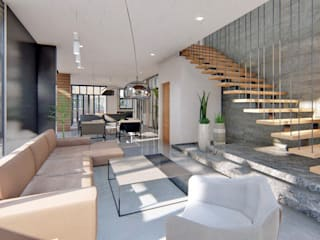 Living Area - View of Stairs by Structura Architects Modern Wood Wood effect